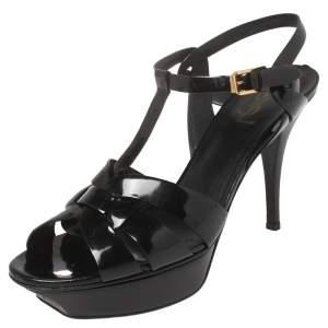 Saint Laurent Black Patent Leather Tribute Sandals Size 41.5