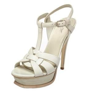 Saint Laurent White Leather Tribute  Sandals Size 36.5