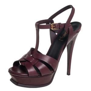 Saint Laurent Brown  Leather Tribute Sandals Size 37
