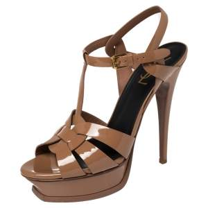 Saint Laurent Brown Patent Leather Tribute  Sandals Size 39