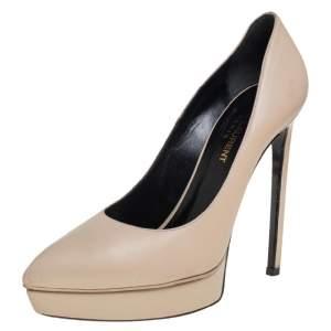 Saint Laurent  Cream Leather Janis Pointed Toe Platform Pump Size 37