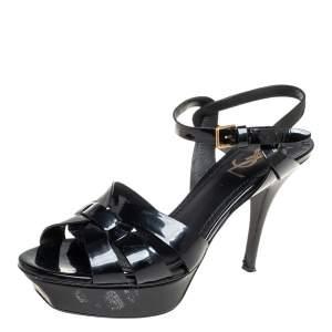 Saint Laurent  Black Patent Leather Tribute Sandals Size 38.5