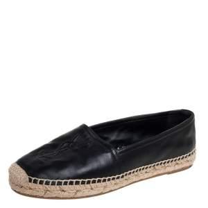 Saint Laurent Black Leather Logo Espadrilles Size 35.5