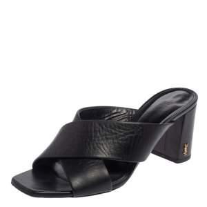 Saint Laurent Black Leather Loulou Criss Cross Mules Size 41