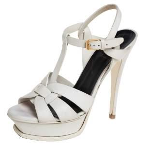 Saint Laurent White Leather Tribute Sandals Size 37.5