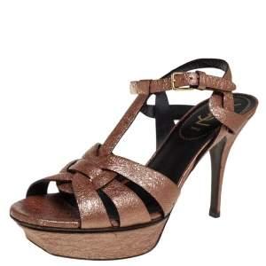 Saint Laurent Bronze Textured Leather Tribute Platform Sandals Size 38.5