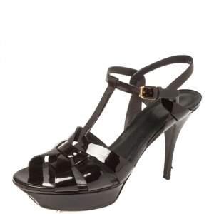 Saint Laurent Burgundy Patent Leather Tribute Platform Ankle Strap Sandals Size 41.5