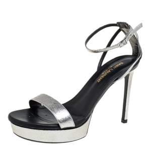 Saint Laurent Metallic Silver Textured Leather Open Toe Ankle Strap Sandals Size 37