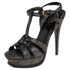 Saint Laurent Black Glitter And Suede Tribute Sandals Size 38.5