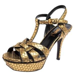 Saint Laurent Gold Python Embossed Leather Tribute Platform Ankle Strap Sandals Size 35
