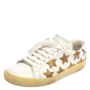 Saint Laurent White/Gold Leather Star Alpha Low Top Sneakers Size 35
