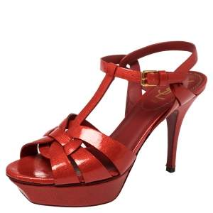 Saint Laurent Red Leather Tribute Sandals Size 38