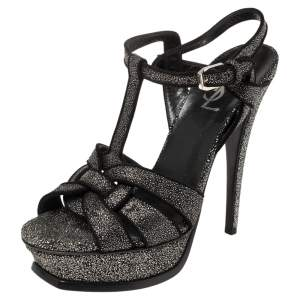 Saint Laurent Silver/Black Glitter And Suede Tribute Platform Ankle Strap Sandals Size 38