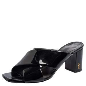Saint Laurent Black Leather Loulou Criss Cross Mules Size 37