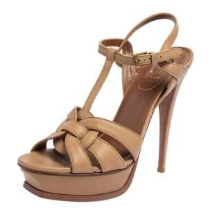Saint Laurent Brown Leather Tribute Sandals Size 41.5