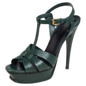 Saint Laurent Green Leather Tribute Sandals Size 40
