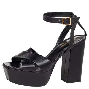 Saint Laurent Black Leather Farrah Criss Cross Platform Ankle Strap Sandals Size 38