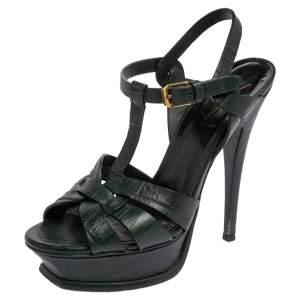 Saint Laurent Petroleum Green Croc Embossed Leather Tribute Platform Sandals Size 36
