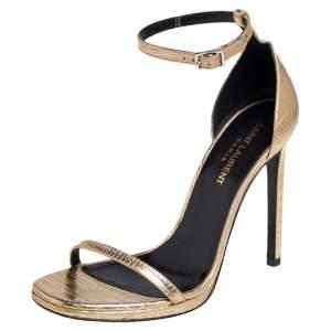 Saint Laurent Gold Lizard Embossed Leather Jane Ankle Strap Sandals Size 36