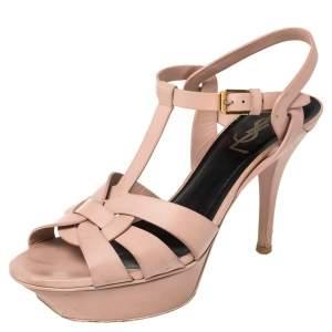 Saint Laurent Beige Leather Tribute Platform Ankle Strap Sandals Size 36.5