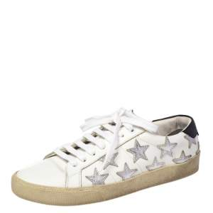 Saint Laurent White Leather Star Court Classic California Sneakers Size 37.5
