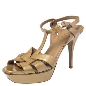 Saint Laurent Gold Patent Leather Tribute Sandals Size 40