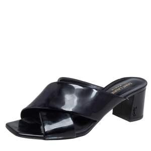 Saint Laurent Black Patent Leather Loulou Criss Cross Mules Size 38.5
