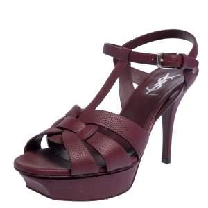 Saint Laurent Paris Burgundy Leather Tribute Platform Sandals Size 37.5