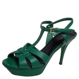 Saint Laurent Green Leather Tribute Platform Ankle Strap Sandals Size 40