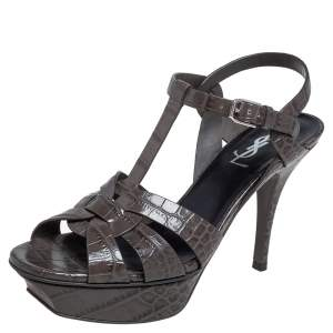 Saint Laurent Grey Croc Embossed Leather Tribute Sandals Size 37.5