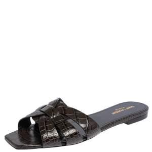 Saint Laurent Dark Grey Croc Embossed Leather Tribute Flats Size 41
