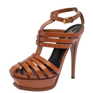 Saint Laurent Brown Leather Gladiator Platform Sandals Size 36.5