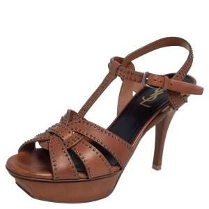 Saint Laurent Brown Leather Tribute Studded Sandals Size 37