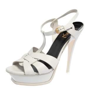 Saint Laurent Paris White Leather Tribute Platform Sandals Size 41