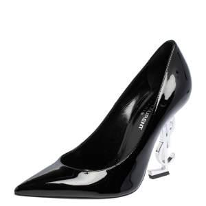 حذاء كعب عالي سان لوران أوبيوم جلد أسود لامع بمقدمة مدببة مقاس 36.5