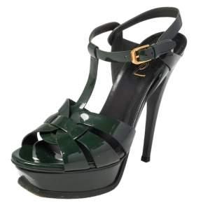 Saint Laurent Dark Green Patent Leather Tribute Platform Sandals Size 36.5