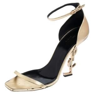 Saint Laurent Gold Leather Opyum Ankle Strap Sandals Size 42