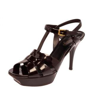 Saint Laurent Dark Burgundy Patent Leather Tribute Sandals Size 38.5