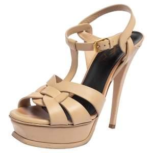 Saint Laurent Beige Leather Tribute Sandals Size 36.5
