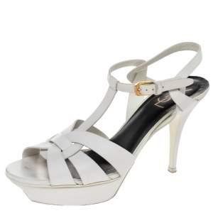 Saint Laurent White Leather Tribute Platform Ankle Strap Sandals Size 41