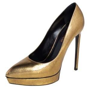 Saint Laurent Gold Leather Janis Platform Pointed Toe Pumps Size 39