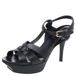Saint Laurent Black Leather Tribute Platform Sandals Size 36.5