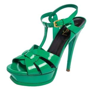 Saint Laurent Green Patent Leather Tribute Sandals Size 37.5
