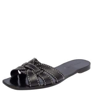 Saint Laurent Black Leather Tribute Flat Slides Size 40