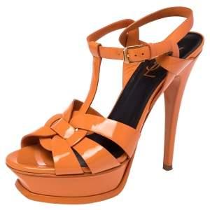 Saint Laurent Orange Patent Leather Tribute Sandals Size 37.5