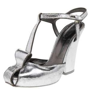 Saint Laurent Paris Silver Embossed Leather T Strap Sandals Size 37