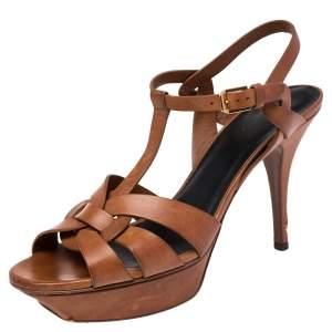 Saint Laurent Brown Leather Tribute Sandals Size 40