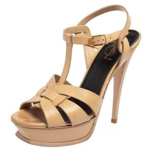 Saint Laurent Beige Leather Tribute Sandals Size 39