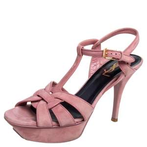 Saint Laurent Pink Suede and Leather Tribute Ankle Strap Sandals Size 37