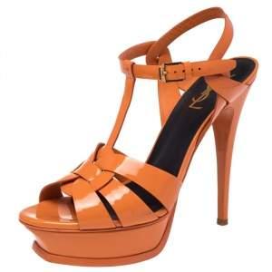 Saint Laurent Orange Patent Leather Tribute Platform Ankle Strap Sandals Size 39.5